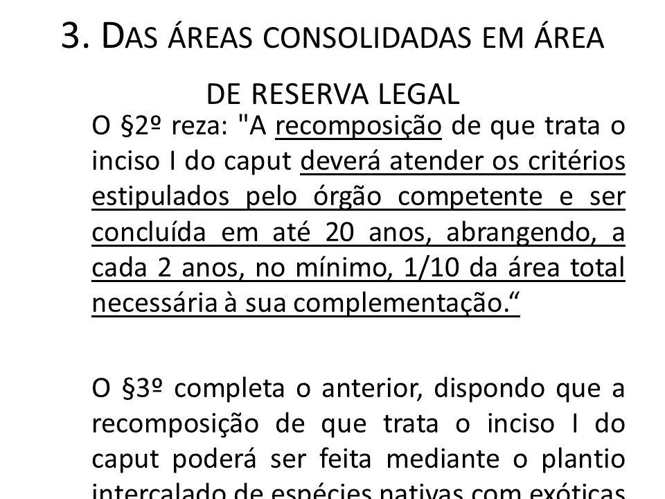 3. D AS ÁREAS CONSOLIDADAS EM ÁREA DE RESERVA LEGAL O §2º reza: