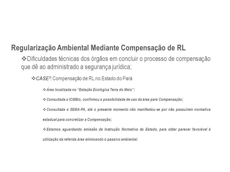 Regularização Ambiental Mediante Compensação de RL  Dificuldades técnicas dos órgãos em concluir o processo de compensação que dê ao administrado a s