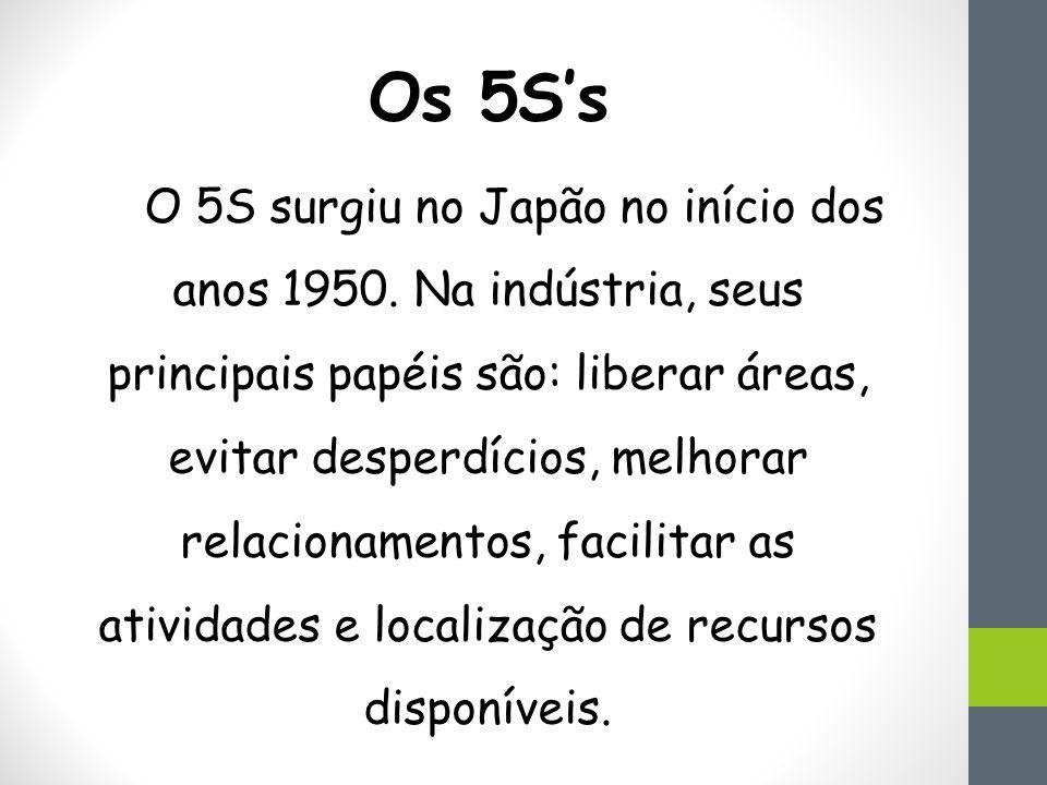Os 5S's O 5S surgiu no Japão no início dos anos 1950.