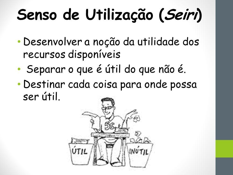 Senso de Utilização (Seiri) Desenvolver a noção da utilidade dos recursos disponíveis Separar o que é útil do que não é.