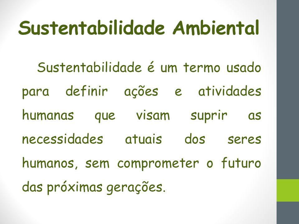 Sustentabilidade é um termo usado para definir ações e atividades humanas que visam suprir as necessidades atuais dos seres humanos, sem comprometer o futuro das próximas gerações.