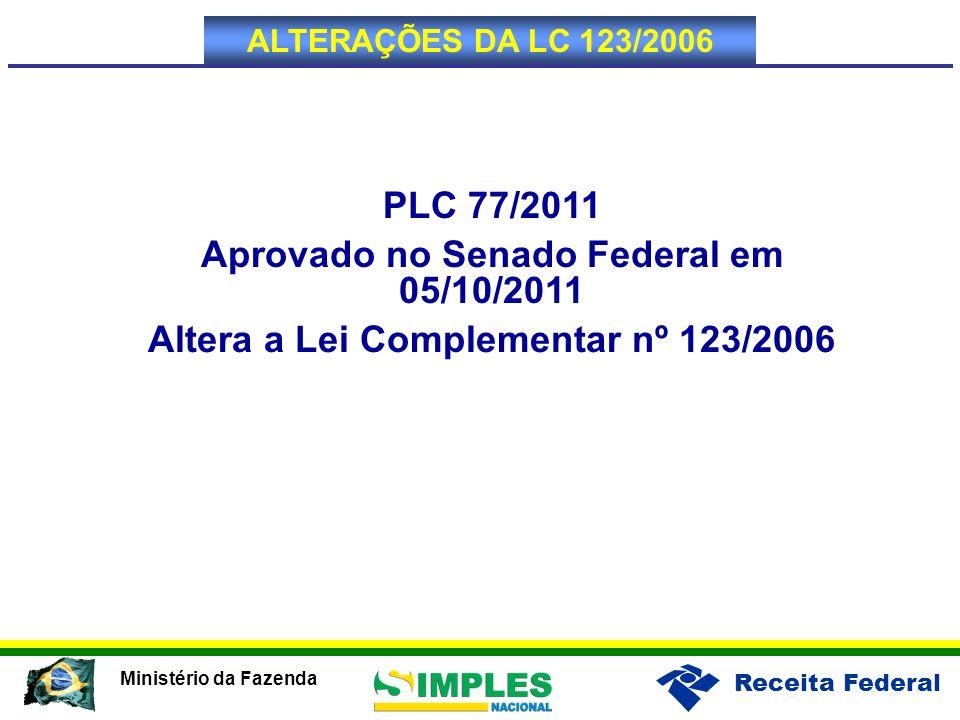 Receita Federal Ministério da Fazenda PLC 77/2011 Aprovado no Senado Federal em 05/10/2011 Altera a Lei Complementar nº 123/2006 ALTERAÇÕES DA LC 123/2006