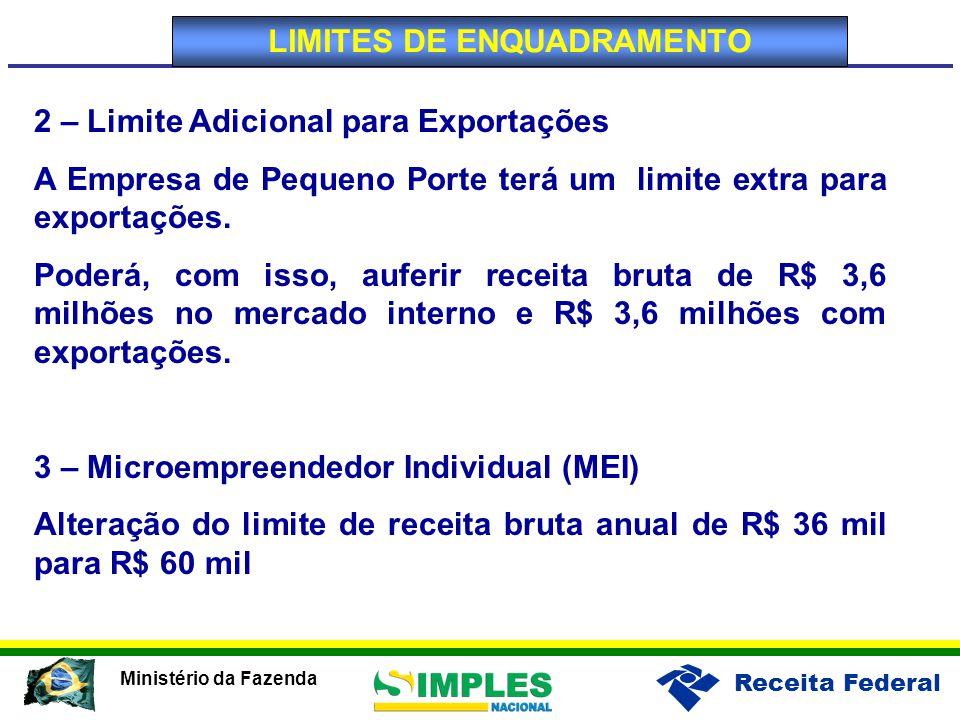 Receita Federal Ministério da Fazenda 2 – Limite Adicional para Exportações A Empresa de Pequeno Porte terá um limite extra para exportações.