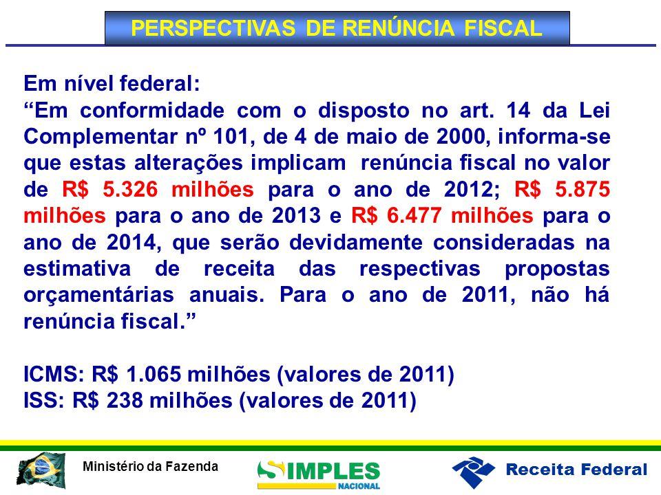 Receita Federal Ministério da Fazenda Em nível federal: Em conformidade com o disposto no art.