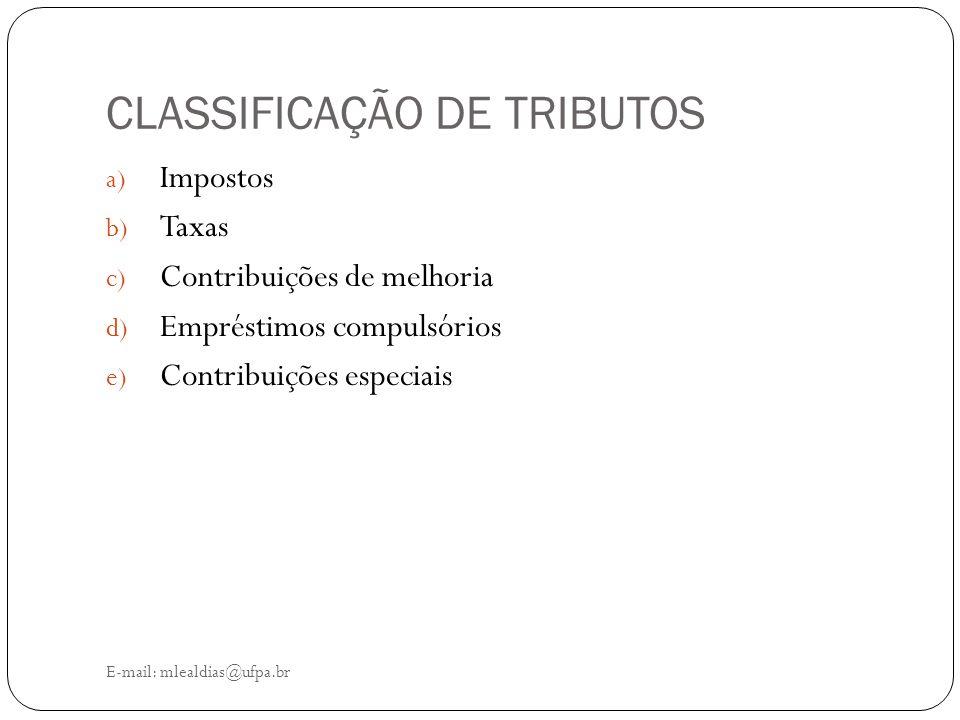 CLASSIFICAÇÃO DE TRIBUTOS E-mail: mlealdias@ufpa.br a) Impostos b) Taxas c) Contribuições de melhoria d) Empréstimos compulsórios e) Contribuições esp