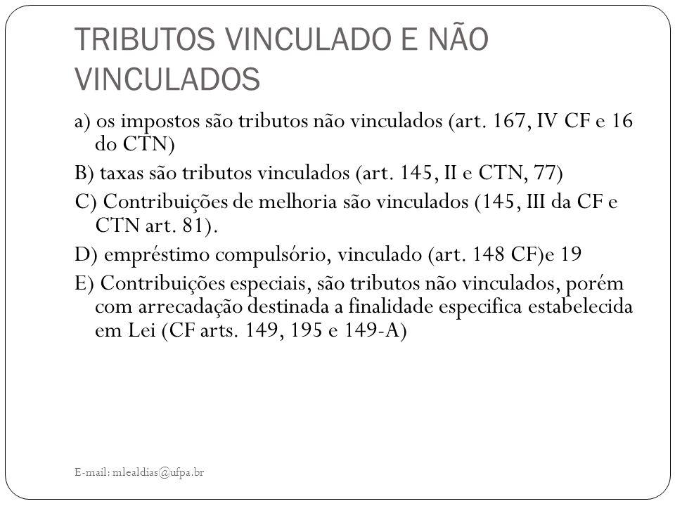 TRIBUTOS VINCULADO E NÃO VINCULADOS E-mail: mlealdias@ufpa.br a) os impostos são tributos não vinculados (art. 167, IV CF e 16 do CTN) B) taxas são tr