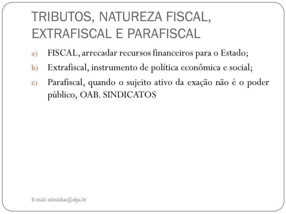 TRIBUTOS, NATUREZA FISCAL, EXTRAFISCAL E PARAFISCAL E-mail: mlealdias@ufpa.br a) FISCAL, arrecadar recursos financeiros para o Estado; b) Extrafiscal,