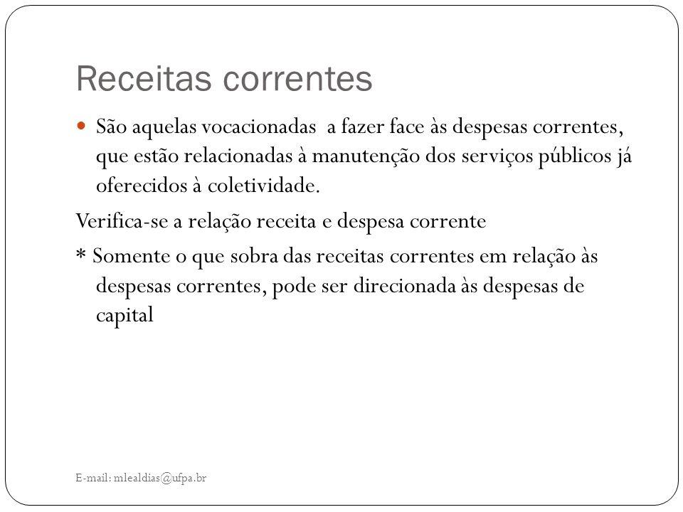 Receitas correntes E-mail: mlealdias@ufpa.br São aquelas vocacionadas a fazer face às despesas correntes, que estão relacionadas à manutenção dos serv