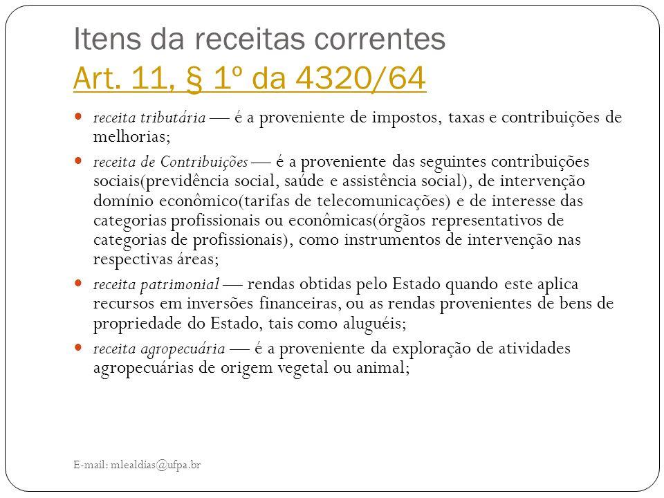 Itens da receitas correntes Art. 11, § 1º da 4320/64 Art. 11, § 1º da 4320/64 E-mail: mlealdias@ufpa.br receita tributária — é a proveniente de impost