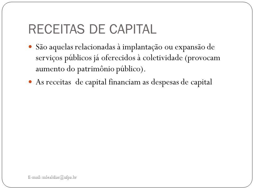 RECEITAS DE CAPITAL E-mail: mlealdias@ufpa.br São aquelas relacionadas à implantação ou expansão de serviços públicos já oferecidos à coletividade (pr