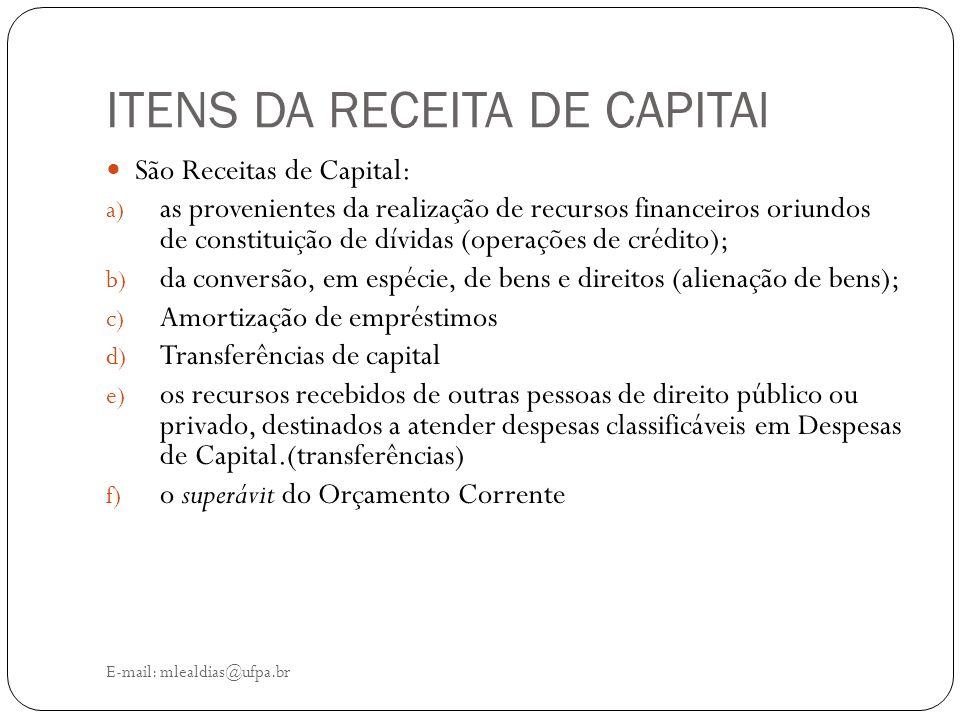ITENS DA RECEITA DE CAPITAl E-mail: mlealdias@ufpa.br São Receitas de Capital: a) as provenientes da realização de recursos financeiros oriundos de co