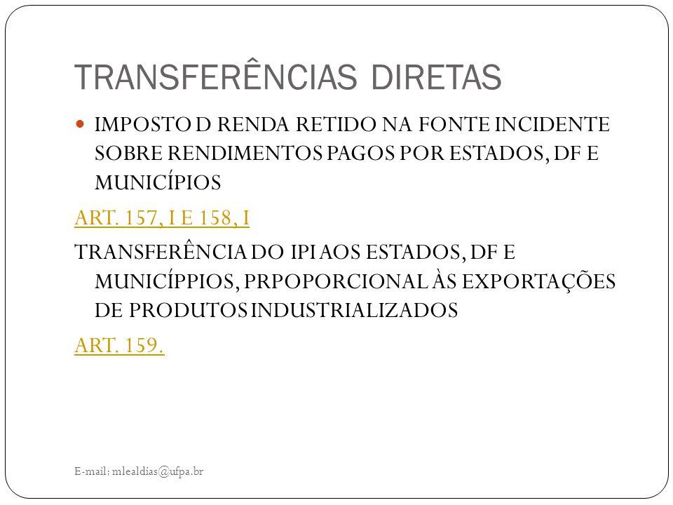 TRANSFERÊNCIAS DIRETAS E-mail: mlealdias@ufpa.br IMPOSTO D RENDA RETIDO NA FONTE INCIDENTE SOBRE RENDIMENTOS PAGOS POR ESTADOS, DF E MUNICÍPIOS ART. 1