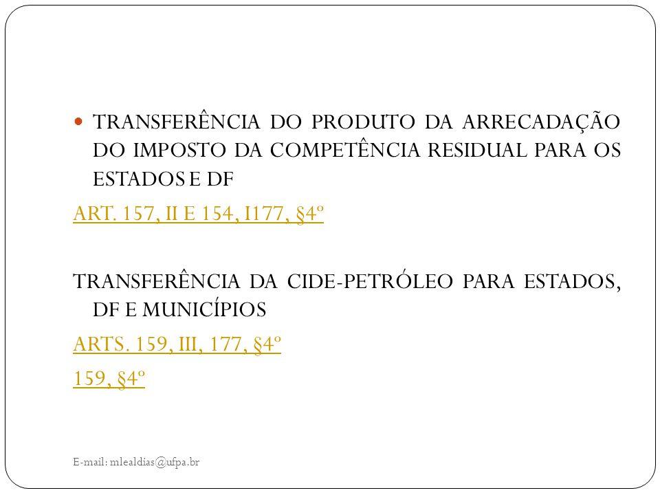 E-mail: mlealdias@ufpa.br TRANSFERÊNCIA DO PRODUTO DA ARRECADAÇÃO DO IMPOSTO DA COMPETÊNCIA RESIDUAL PARA OS ESTADOS E DF ART. 157, II E 154, I177, §4