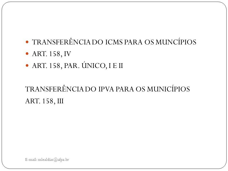 E-mail: mlealdias@ufpa.br TRANSFERÊNCIA DO ICMS PARA OS MUNCÍPIOS ART. 158, IV ART. 158, PAR. ÚNICO, I E II TRANSFERÊNCIA DO IPVA PARA OS MUNICÍPIOS A