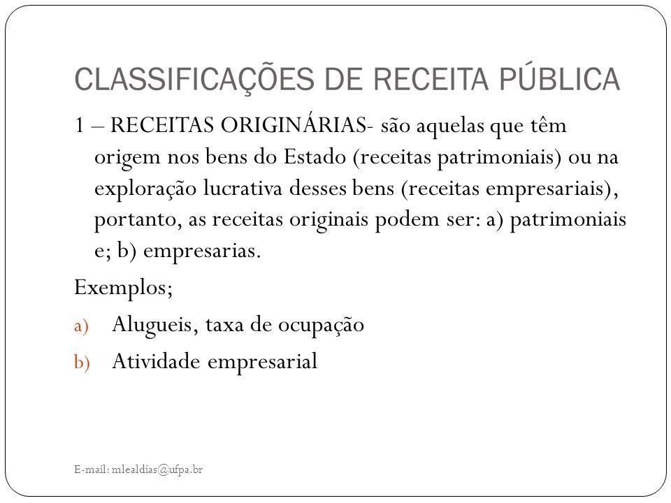 CLASSIFICAÇÕES DE RECEITA PÚBLICA E-mail: mlealdias@ufpa.br 1 – RECEITAS ORIGINÁRIAS- são aquelas que têm origem nos bens do Estado (receitas patrimon
