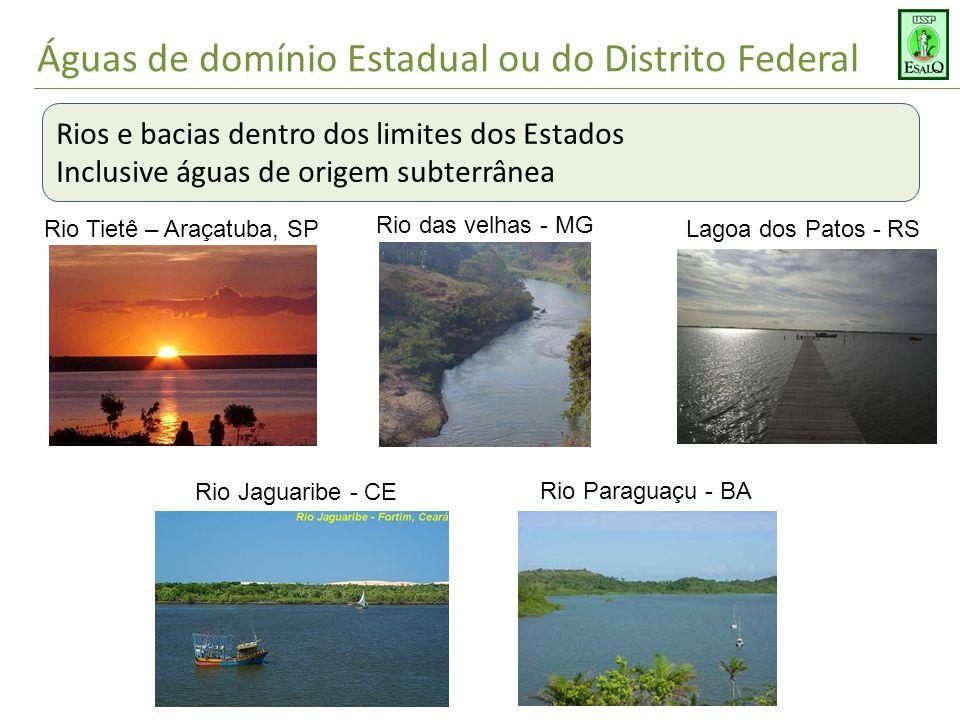 Águas de domínio Estadual ou do Distrito Federal Rios e bacias dentro dos limites dos Estados Inclusive águas de origem subterrânea Rio Tietê – Araçat