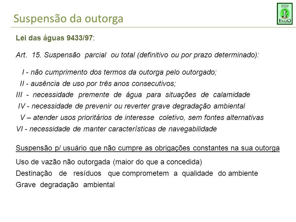 Suspensão da outorga Lei das águas 9433/97: Art.15.