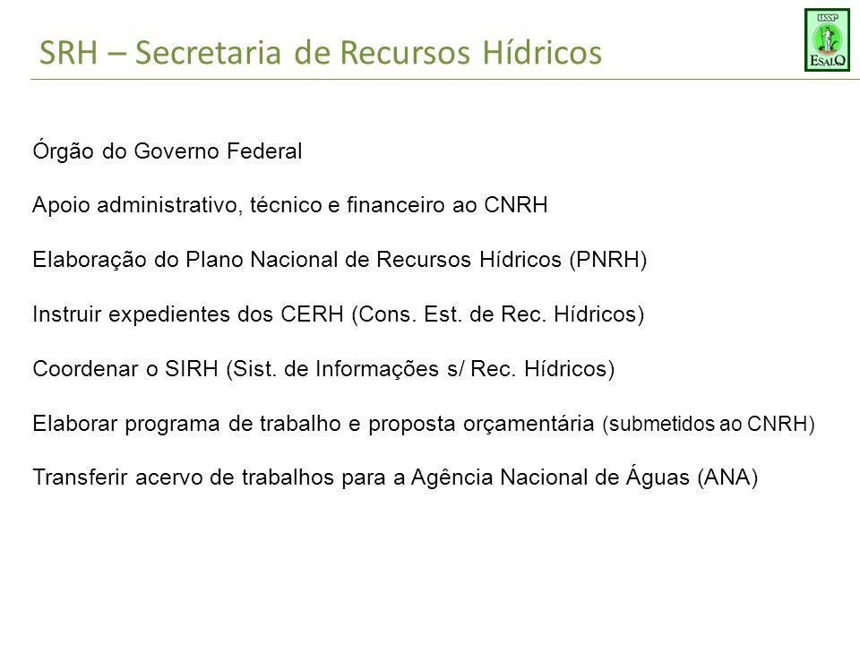 SRH – Secretaria de Recursos Hídricos Órgão do Governo Federal Apoio administrativo, técnico e financeiro ao CNRH Elaboração do Plano Nacional de Recursos Hídricos (PNRH) Instruir expedientes dos CERH (Cons.