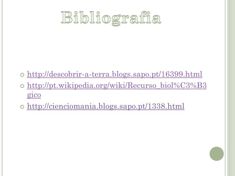 http://descobrir-a-terra.blogs.sapo.pt/16399.html http://pt.wikipedia.org/wiki/Recurso_biol%C3%B3 gico http://cienciomania.blogs.sapo.pt/1338.html