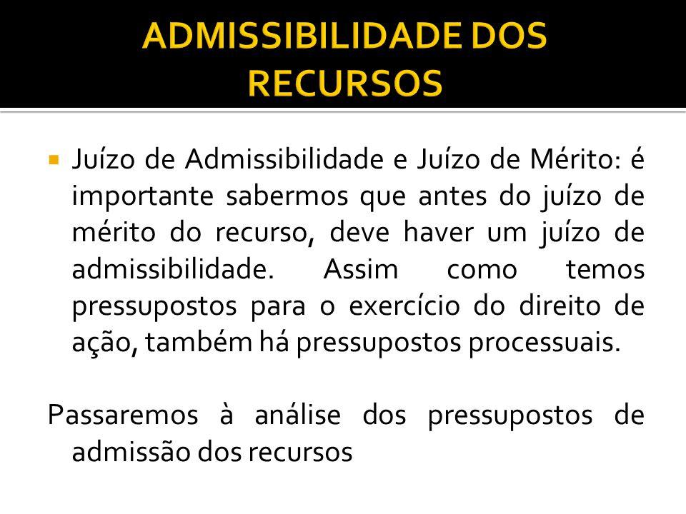 Juízo de Admissibilidade e Juízo de Mérito: é importante sabermos que antes do juízo de mérito do recurso, deve haver um juízo de admissibilidade. A