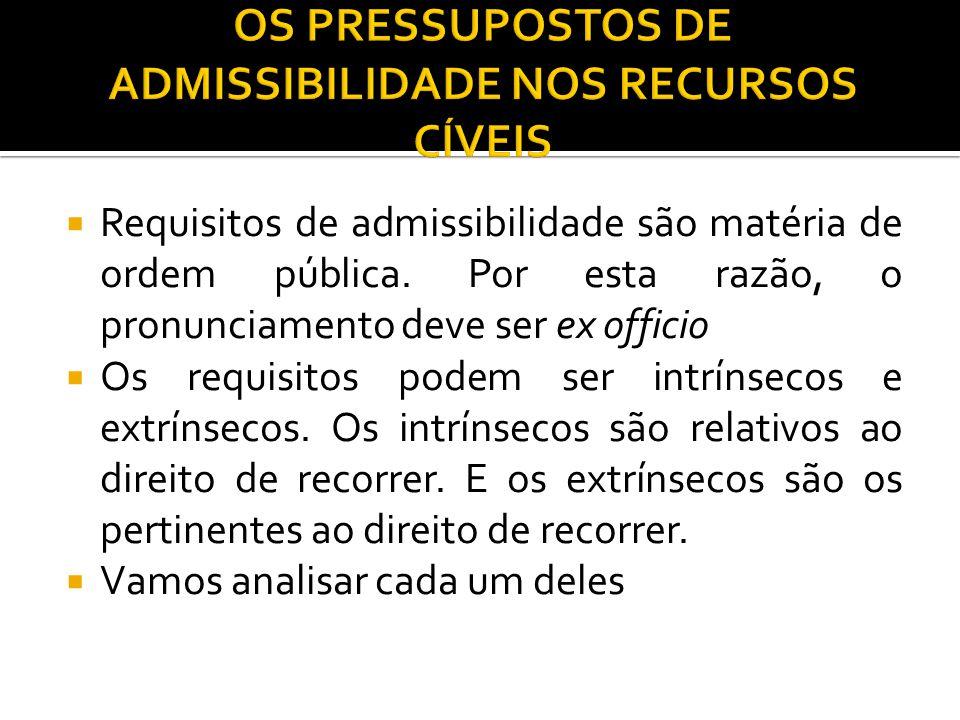  Requisitos de admissibilidade são matéria de ordem pública. Por esta razão, o pronunciamento deve ser ex officio  Os requisitos podem ser intrínsec