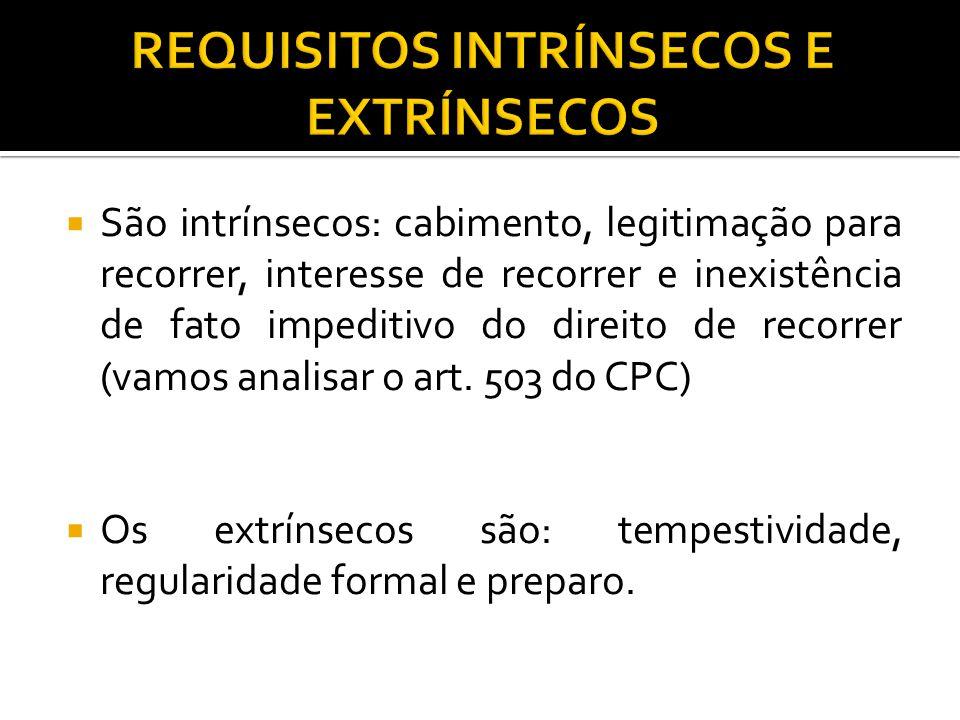  São intrínsecos: cabimento, legitimação para recorrer, interesse de recorrer e inexistência de fato impeditivo do direito de recorrer (vamos analisa