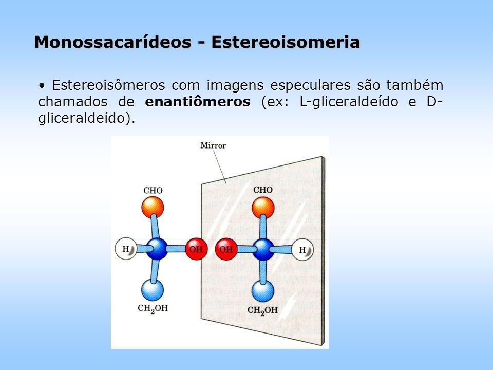 Monossacarídeos - Estereoisomeria Estereoisômeros com imagens especulares são também chamados de enantiômeros (ex: L-gliceraldeído e D- gliceraldeído).