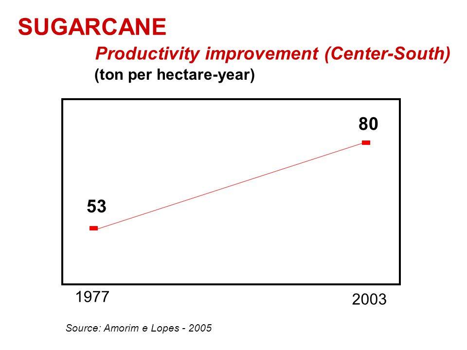 SUGARCANE Productivity improvement (Center-South) Source: Amorim e Lopes - 2005 (ton per hectare-year) 1977 53 2003 80