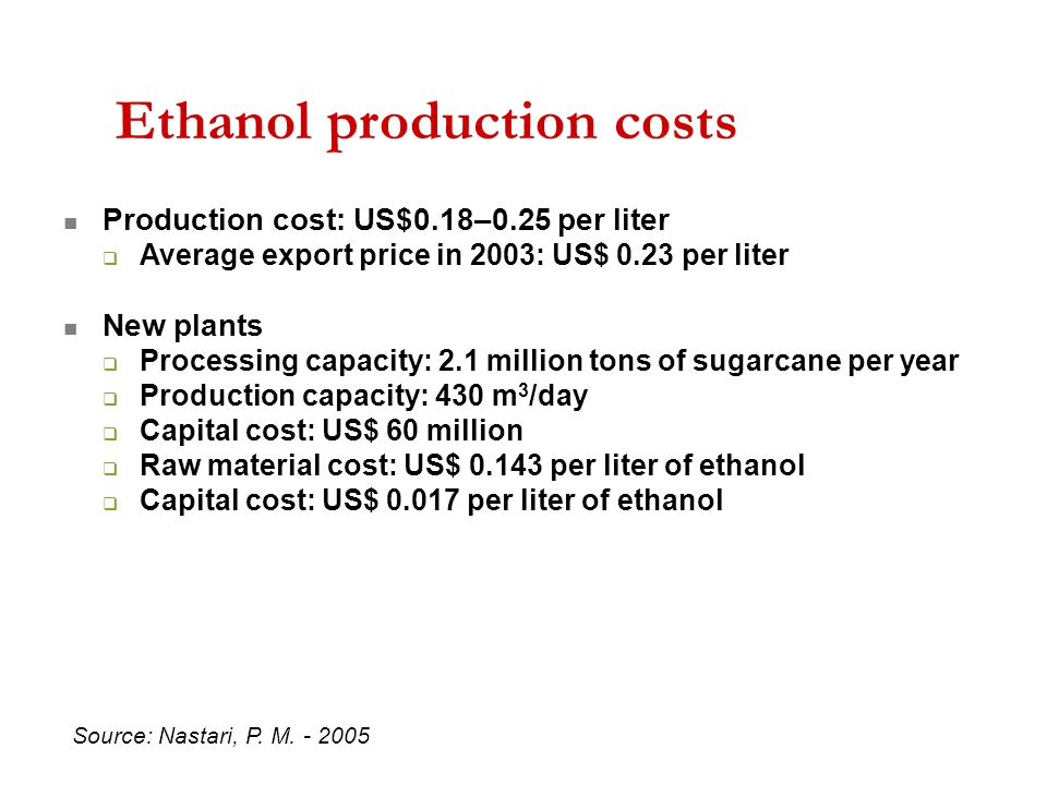 Production cost: US$0.18–0.25 per liter  Average export price in 2003: US$ 0.23 per liter  New plants  Processing capacity: 2.1 million tons of sugarcane per year  Production capacity: 430 m 3 /day  Capital cost: US$ 60 million  Raw material cost: US$ 0.143 per liter of ethanol  Capital cost: US$ 0.017 per liter of ethanol Ethanol production costs Source: Nastari, P.