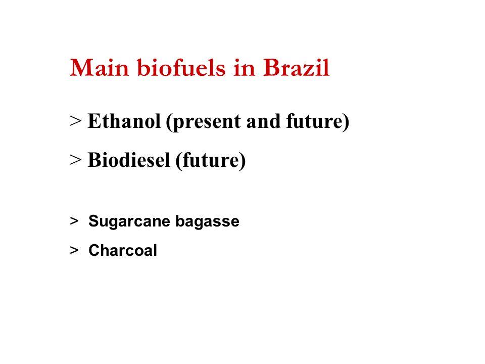 Main biofuels in Brazil > Ethanol (present and future) > Biodiesel (future) > Sugarcane bagasse > Charcoal
