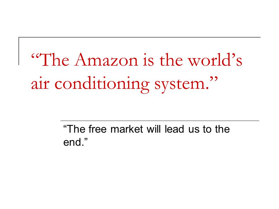 """The Amazon is the world's air conditioning system."" ""The free market will lead us to the end."""