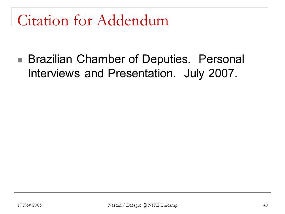 17 Nov 2005 Nastari / Datagro @ NIPE Unicamp 40 Citation for Addendum Brazilian Chamber of Deputies. Personal Interviews and Presentation. July 2007.