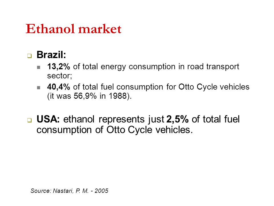Ethanol market  Brazil: 13,2% of total energy consumption in road transport sector; 40,4% of total fuel consumption for Otto Cycle vehicles (it was 56,9% in 1988).