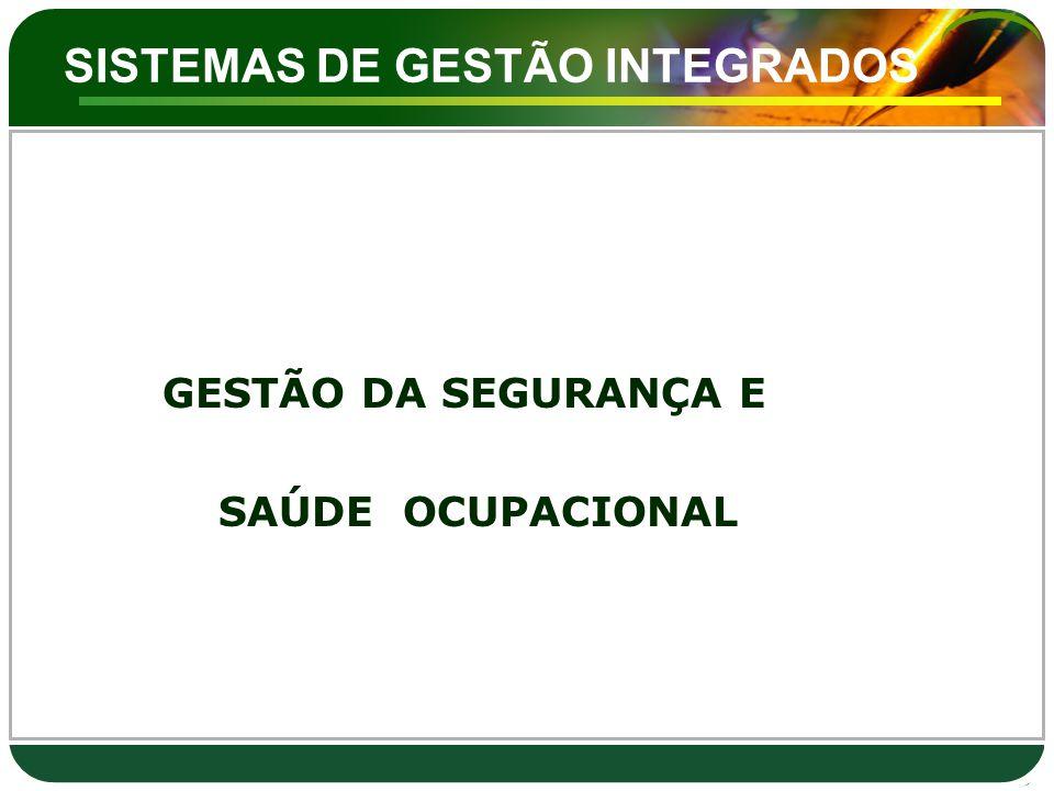SISTEMAS DE GESTÃO INTEGRADOS GESTÃO DA SEGURANÇA E SAÚDE OCUPACIONAL