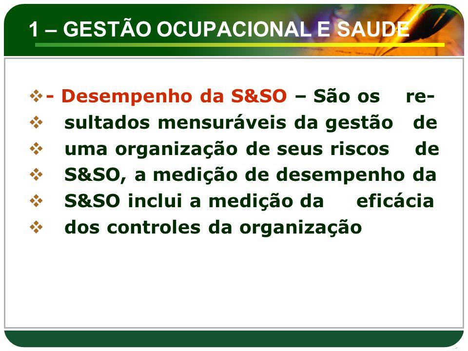 1 – GESTÃO OCUPACIONAL E SAUDE  - Desempenho da S&SO – São os re-  sultados mensuráveis da gestão de  uma organização de seus riscos de  S&SO, a m