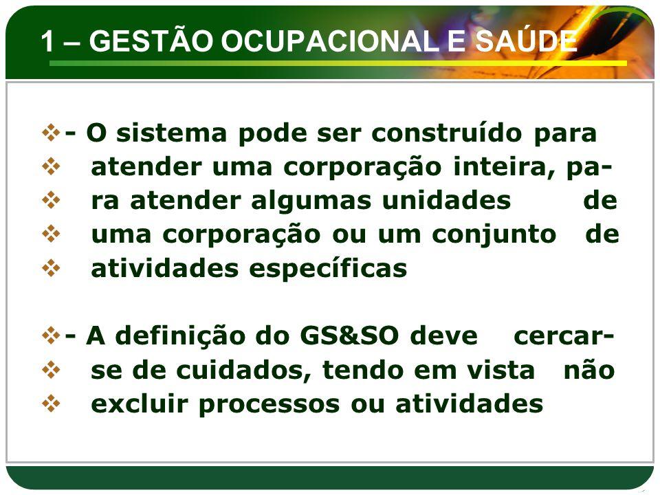 1 – GESTÃO OCUPACIONAL E SAÚDE  - O sistema pode ser construído para  atender uma corporação inteira, pa-  ra atender algumas unidades de  uma cor
