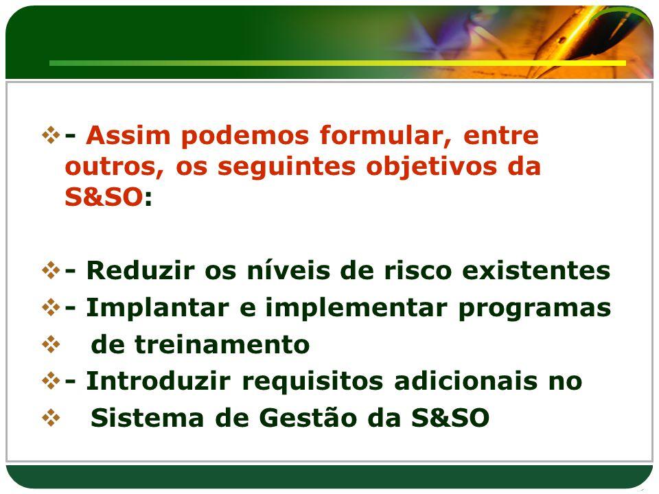 - Assim podemos formular, entre outros, os seguintes objetivos da S&SO:  - Reduzir os níveis de risco existentes  - Implantar e implementar progra