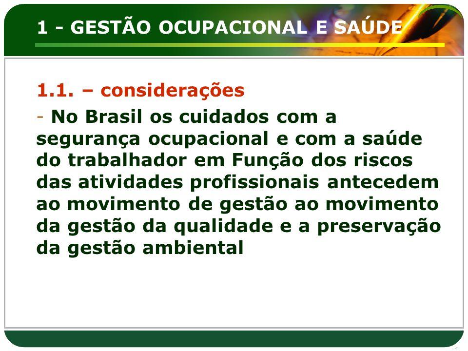 1 - GESTÃO OCUPACIONAL E SAÚDE 1.1. – considerações - No Brasil os cuidados com a segurança ocupacional e com a saúde do trabalhador em Função dos ris