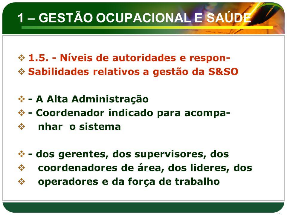 1 – GESTÃO OCUPACIONAL E SAÚDE  1.5. - Níveis de autoridades e respon-  Sabilidades relativos a gestão da S&SO  - A Alta Administração  - Coordena