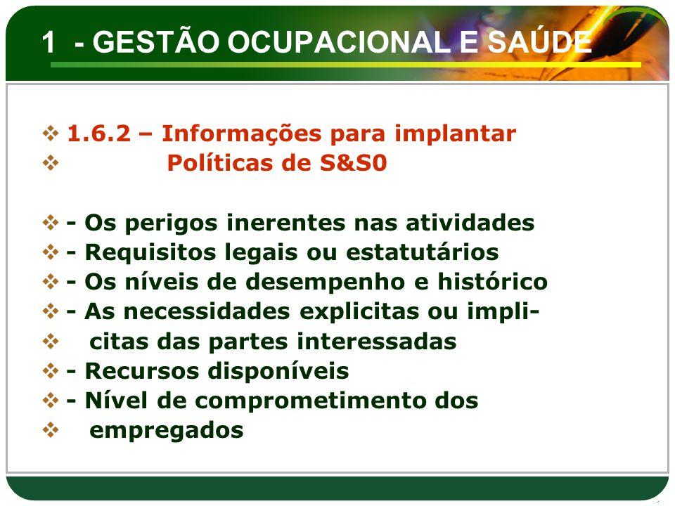 1 - GESTÃO OCUPACIONAL E SAÚDE  1.6.2 – Informações para implantar  Políticas de S&S0  - Os perigos inerentes nas atividades  - Requisitos legais