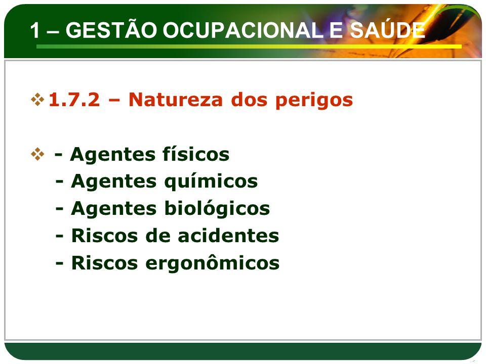 1 – GESTÃO OCUPACIONAL E SAÚDE  1.7.2 – Natureza dos perigos  - Agentes físicos - Agentes químicos - Agentes biológicos - Riscos de acidentes - Risc