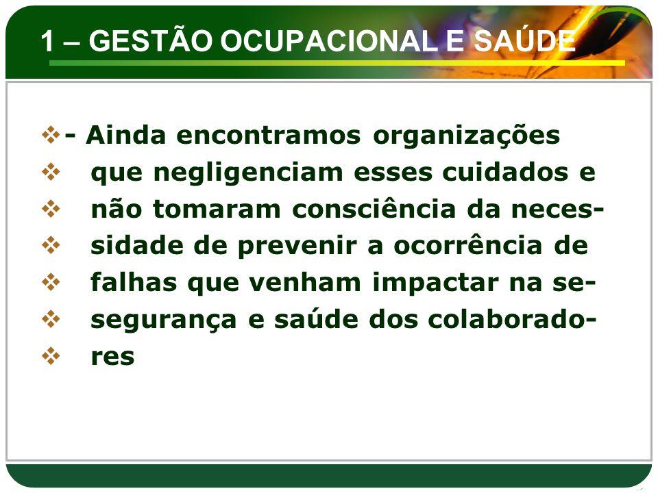 1 – GESTÃO OCUPACIONAL E SAUDE  - Desempenho da S&SO – São os re-  sultados mensuráveis da gestão de  uma organização de seus riscos de  S&SO, a medição de desempenho da  S&SO inclui a medição da eficácia  dos controles da organização