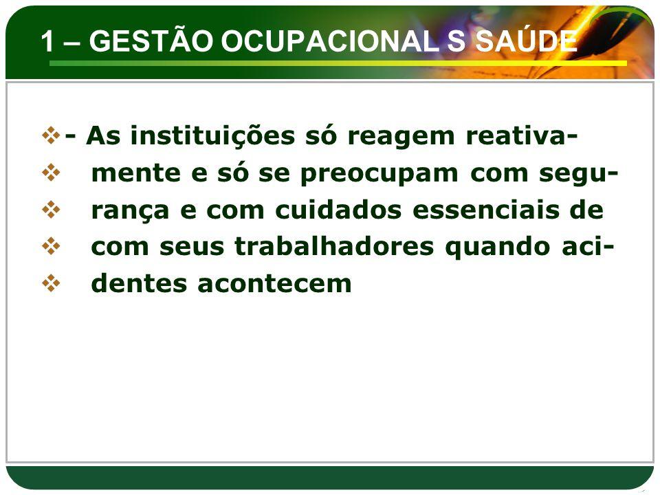 1 – GESTÃO OCUPACIONAL S SAÚDE  - As instituições só reagem reativa-  mente e só se preocupam com segu-  rança e com cuidados essenciais de  com s