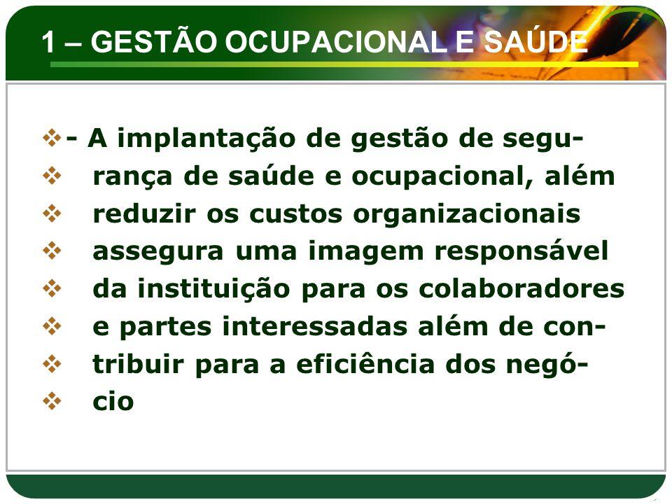 1 – GESTÃO OCUPACIONAL E SAÚDE  - A implantação de gestão de segu-  rança de saúde e ocupacional, além  reduzir os custos organizacionais  assegur