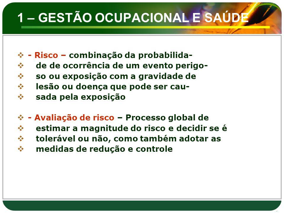 1 – GESTÃO OCUPACIONAL E SAÚDE  1.5.