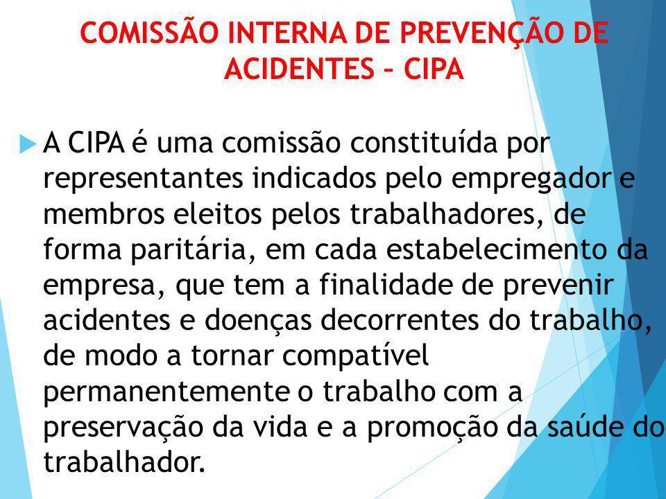 COMISSÃO INTERNA DE PREVENÇÃO DE ACIDENTES – CIPA  A CIPA é uma comissão constituída por representantes indicados pelo empregador e membros eleitos p