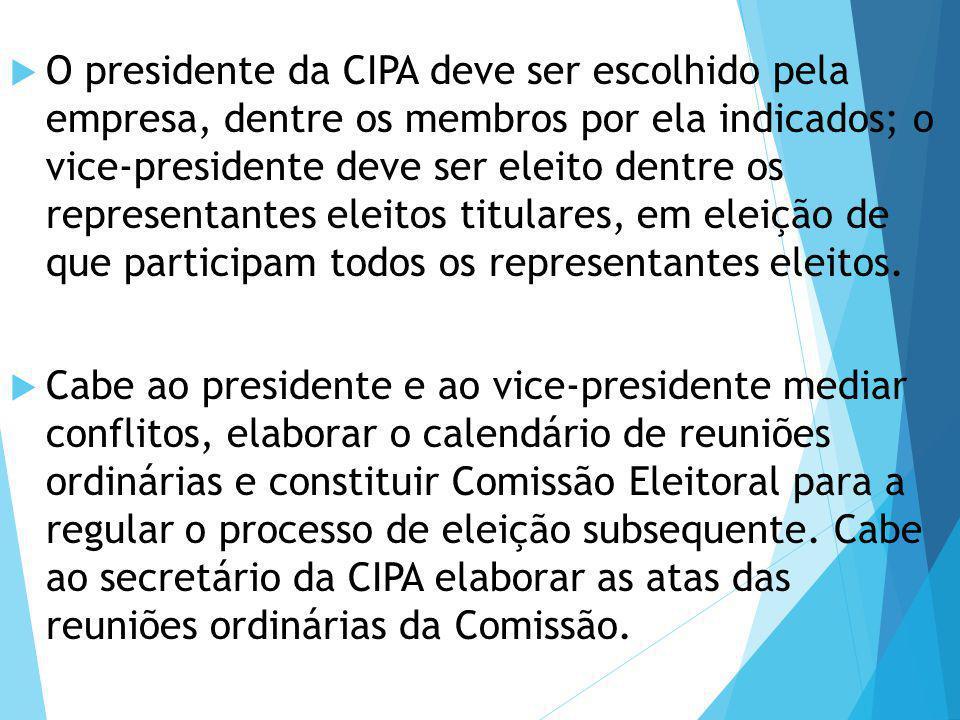  O presidente da CIPA deve ser escolhido pela empresa, dentre os membros por ela indicados; o vice-presidente deve ser eleito dentre os representante