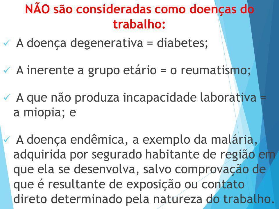 NÃO são consideradas como doenças do trabalho: A doença degenerativa = diabetes; A inerente a grupo etário = o reumatismo; A que não produza incapacid