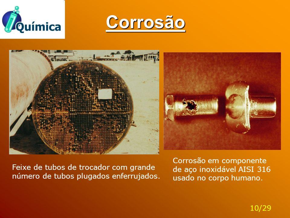Corrosão Feixe de tubos de trocador com grande número de tubos plugados enferrujados. Corrosão em componente de aço inoxidável AISI 316 usado no corpo