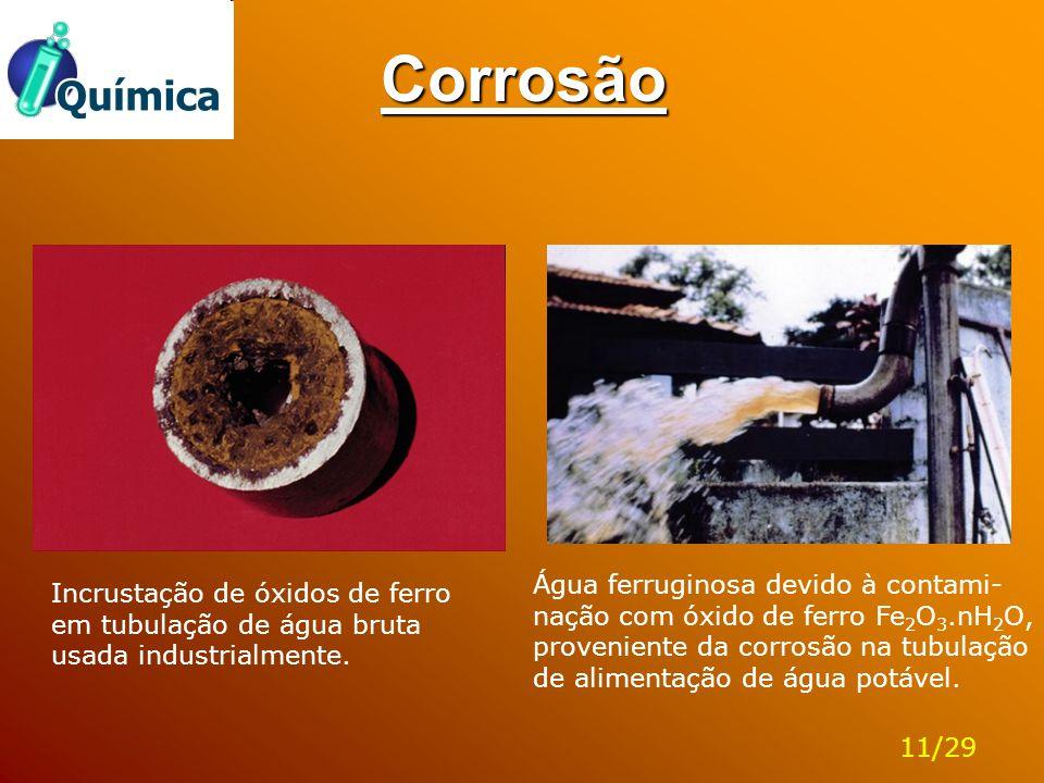 Corrosão Incrustação de óxidos de ferro em tubulação de água bruta usada industrialmente. Água ferruginosa devido à contami- nação com óxido de ferro